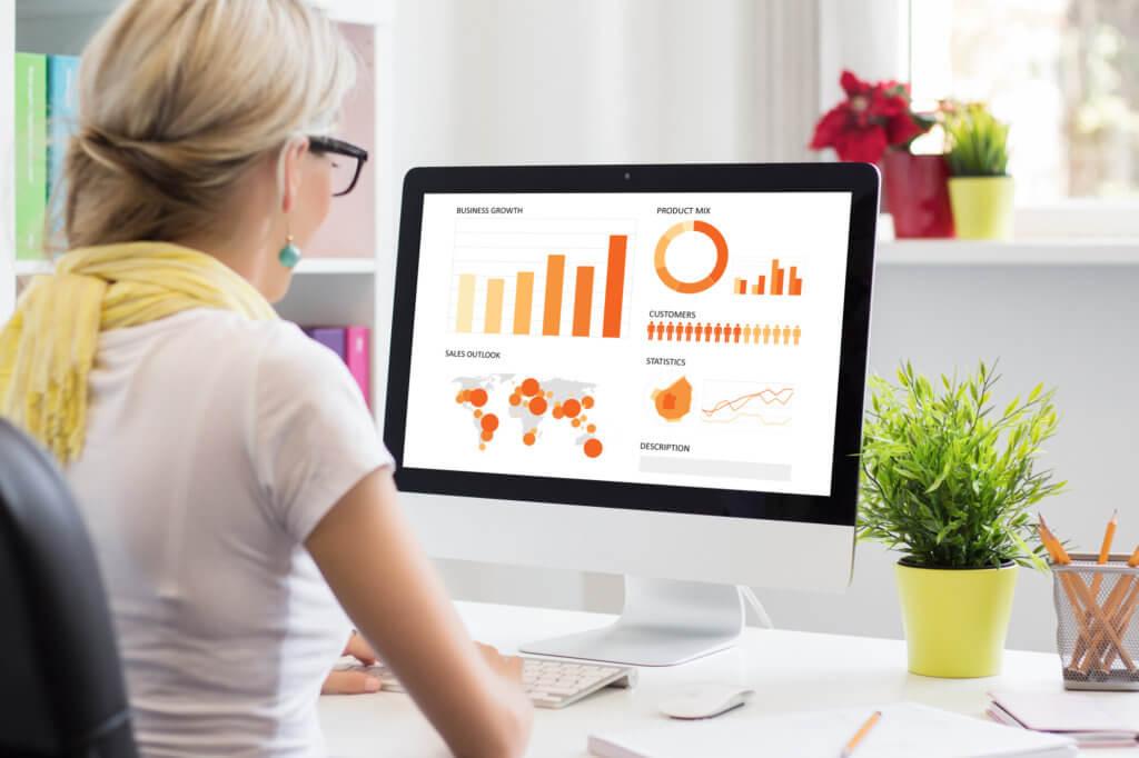 woman looking at sales performance stats